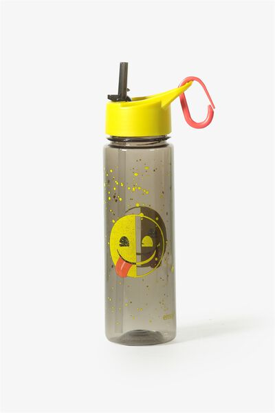 Summer Drink Bottle, GREY EMOJI HALF SMILE
