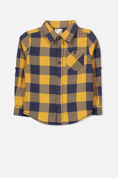 Noah Long Sleeve Shirt, MARIGOLD NAVY CHECK