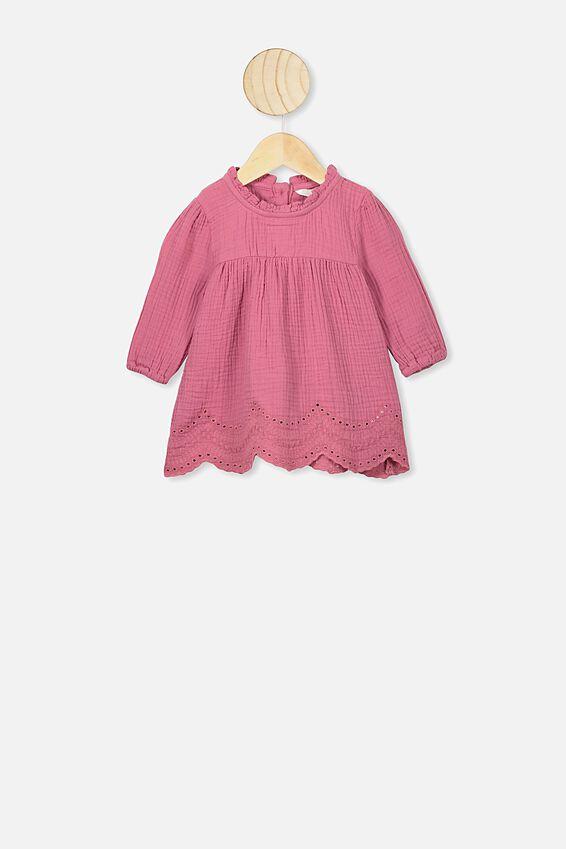 Marcia Long Sleeve Dress, MAUVE PLUM