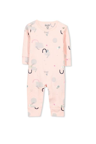 Mini Long Sleeve Snap Bodysuit, POWDER PINK/ABSTRACT CLOUDS