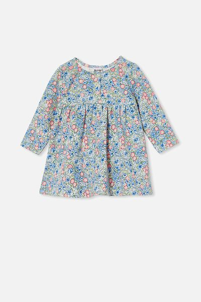 Molly Long Sleeve Dress, DARK VANILLA/DUSK BLUE ANNIE FLORAL