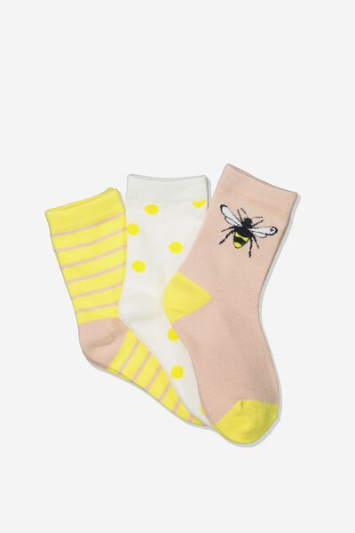 Kids 3Pk Crew Sock, BEES/PEACH WHIP
