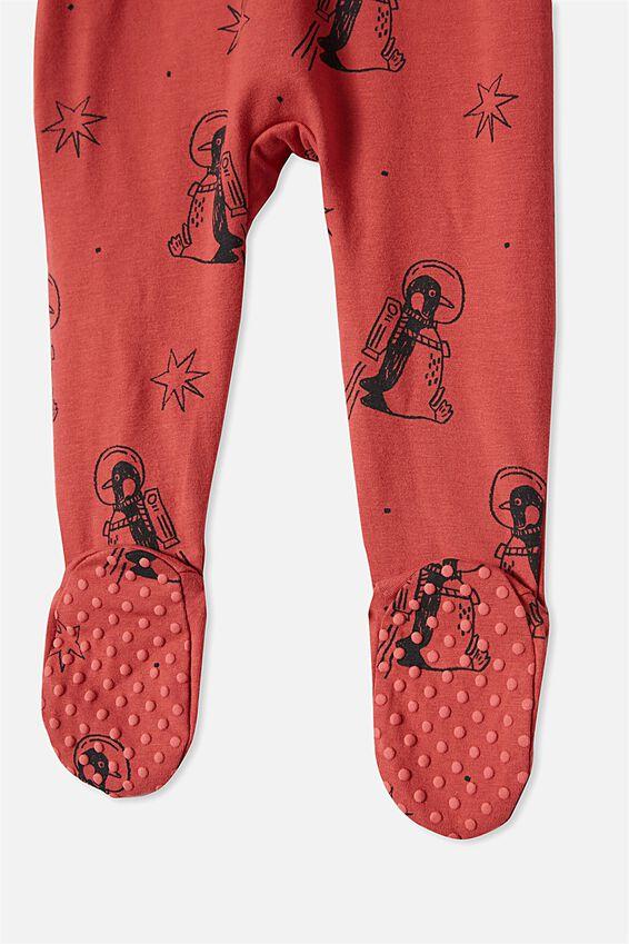 The Long Sleeve Zip Romper, RED BRICK/PENGUIN ASTRONAUT