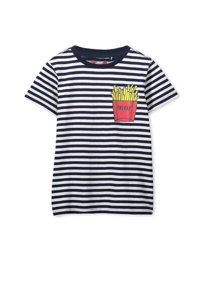 Bass Short Sleeve Tee, OBRIEN BLUE STRIPE/FRIES