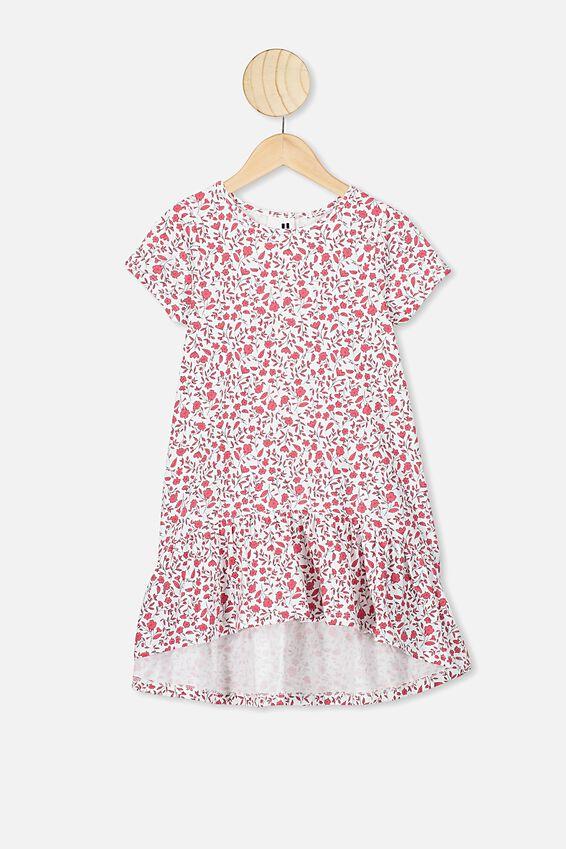 Joss Short Sleeve Dress, VANILLA/SPRIGGY FLORAL