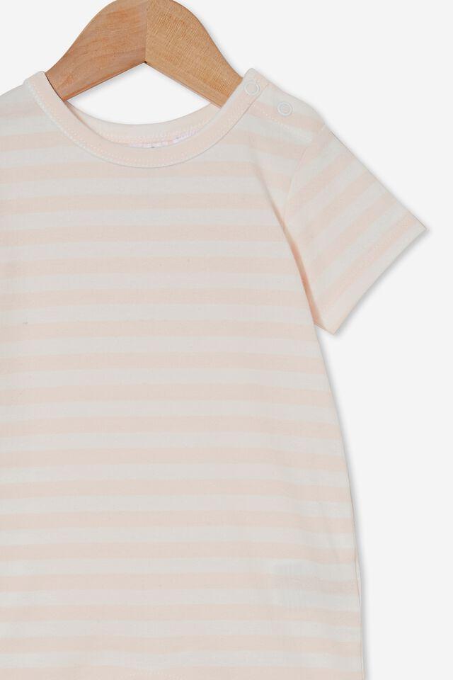 The Short Sleeve Romper, HANNAH STRIPE CRYSTAL PINK/VANILLA