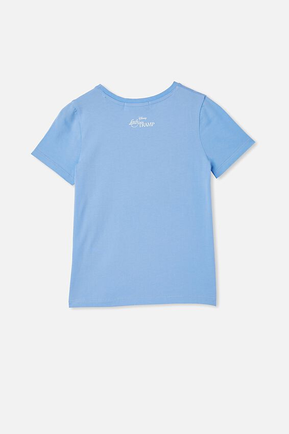License Short Sleeve Tee, LCN DIS DUSK BLUE/THE LADY AND THE TRAMP
