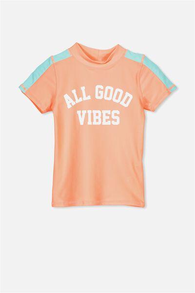 Finley Short Sleeve Rash Vest, TROPICAL ORANGE/GOOD VIBES