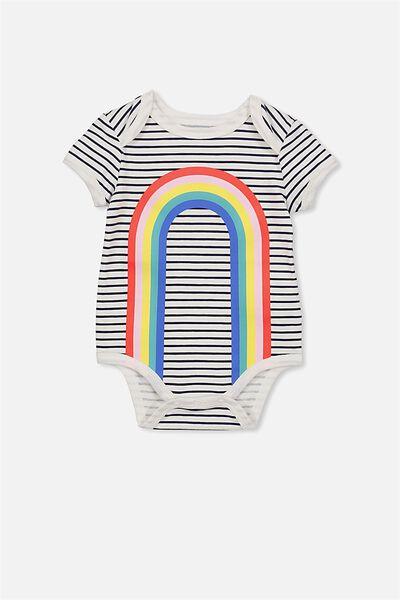Mini Short Sleeve Bubby, VANILLA/RAINBOW
