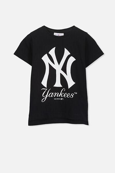 Girls Sports License Tee, BLACK/NEW YORK YANKEES