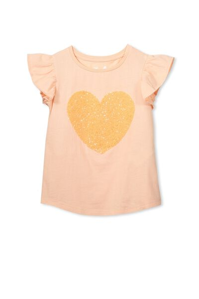 Anna Short Sleeve Flutter Tee, TROPICAL PEACH/HEART