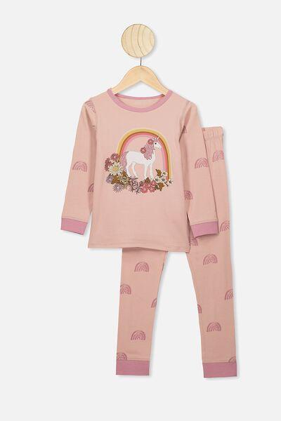 Lila Long Sleeve Pyjama Set, RAINBOW UNICORN