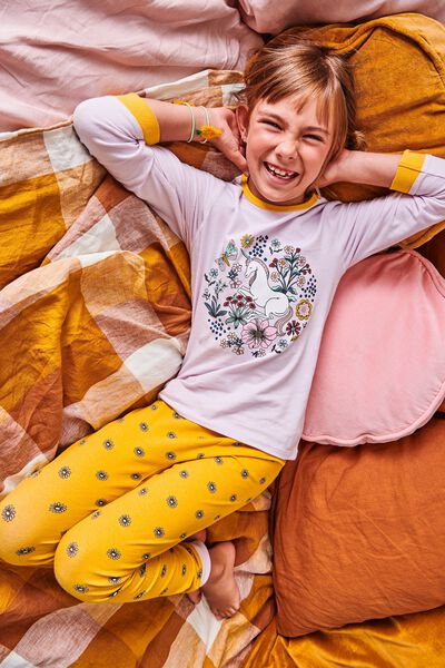 Florence Long Sleeve Pyjama Set, FLORAL UNICORN LAVENDER FOG