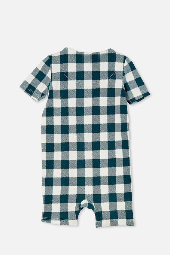 The Snug Short Sleeve Romper, PETROL TEAL/VANILLA MAXI GINGHAM
