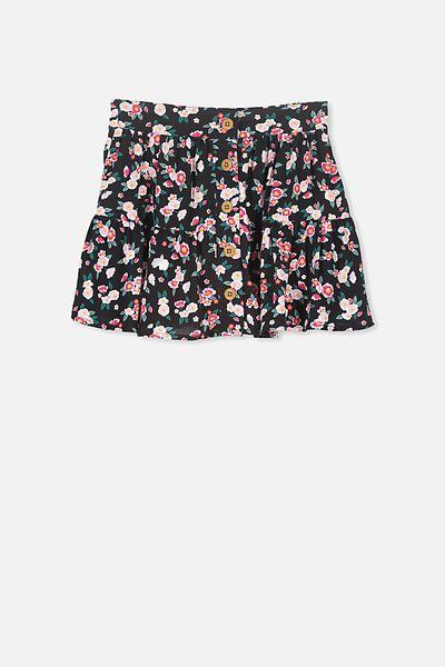 Suri Skirt, TEXTURED DITSY FLORAL/BLACK