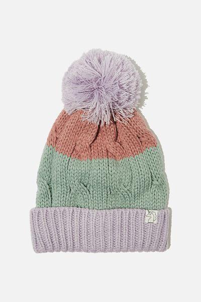 Winter Knit Beanie, LILAC SPLICE