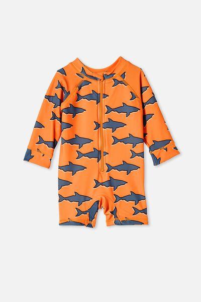 Cameron Long Sleeve Swimsuit, MELON POP/SHARKS