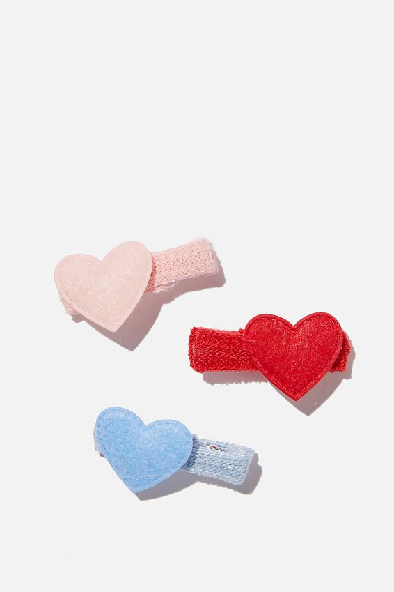 Hair Clip  - Pink Red Felt Hearts, PINK RED HEARTS