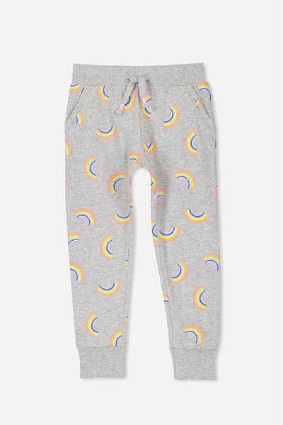 Kikii Trackpant, LIGHT GREY MARLE/RAINBOWS