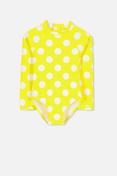 Lydia Rashie Swimsuit, BLAZING YELLOW SPOTS