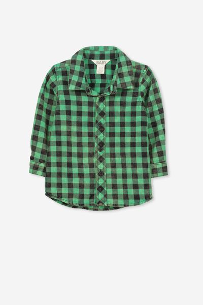 Zac Long Sleeve Shirt, JELLY BEAN/BLACK CHECK