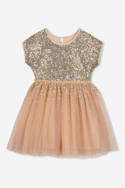 Inga Tulle Dress, BISCUIT/GOLD GRADIENT