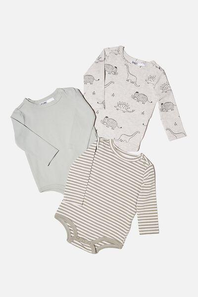 3 Pack Long Sleeve Bubbysuit, DINO MAMMOTH/STONE GREEN/SILVER SAGE STRIPE