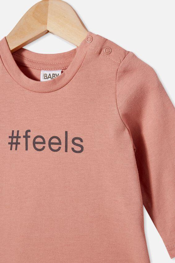 Jamie Long Sleeve Tee, CLAY PIGEON/#FEELS