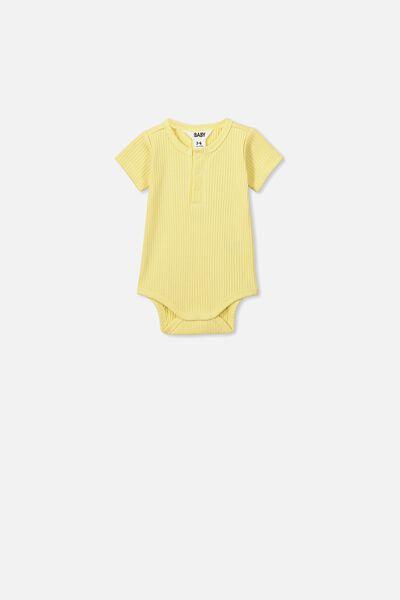 The Short Sleeve Button Bubbysuit, PASTEL LEMON