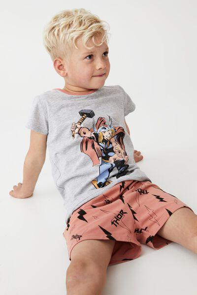 Hudson Short Sleeve Pyjama Set Licensed, LCN MAR MIGHTY THOR/SUMMER GREY MARLE