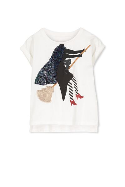 Girls Short Sleeve Halloween Tee, VANILLA/WITCH ON A BROOM