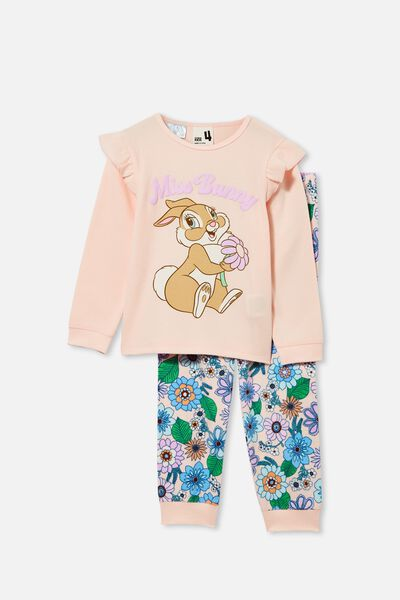Edith Long Sleeve Pyjama Set Licensed, LCN DIS MISS BUNNY/CRYSTAL PINK