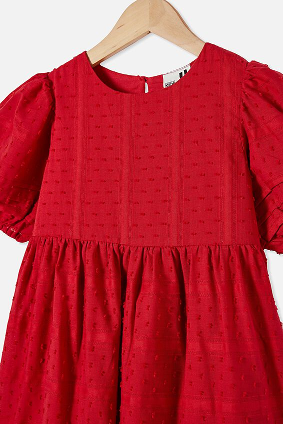 Mika Short Sleeve Dress, LUCKY RED