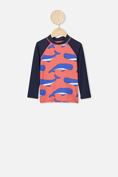 Flynn Long Sleeve Rash Vest, RED/WHALE