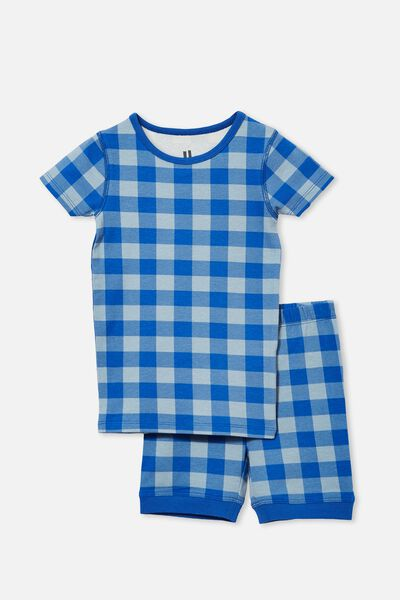 Ted Short Sleeve Pyjama Set, BLUE GINGHAM/RETRO BLUE