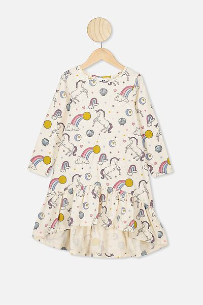 Joss Long Sleeve Dress, DARK VANILLA/UNICORN LOVE