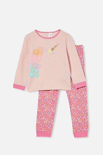 Florence Long Sleeve Pyjama Set, FLORAL MANE UNICORN / CRYSTAL PINK