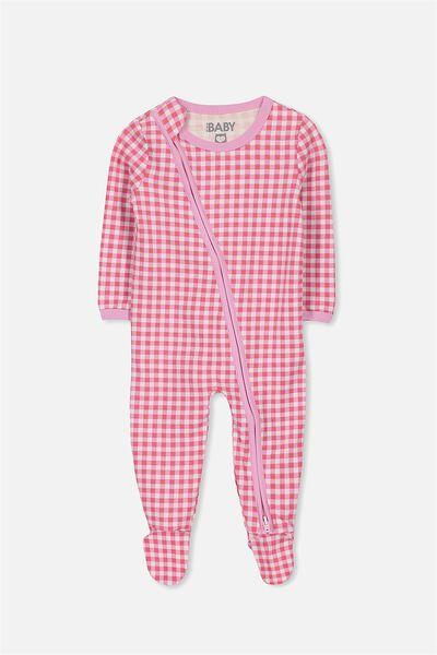 Sleep Mini Zip All In One Jumpsuit, WILDFLOWER PINK GINGHAM