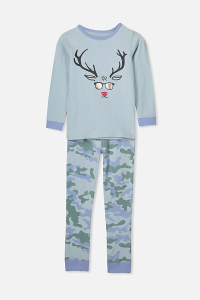 Harrison Long Sleeve Boys Pyjamas, XMAS CAMO REINDEER