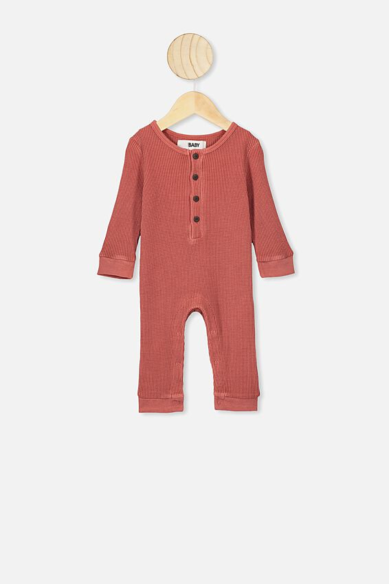 The Long Sleeve Waffle Romper, RED BRICK