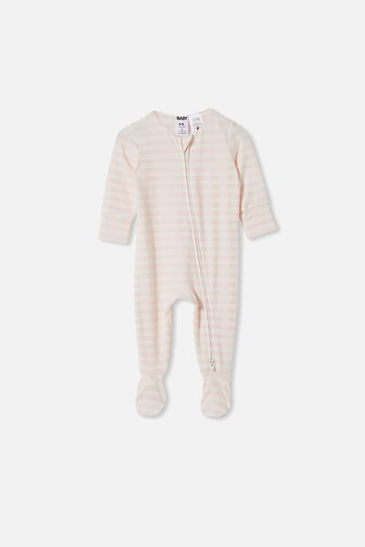 The Long Sleeve Zip Romper, HANNAH STRIPE CRYSTAL PINK/VANILLA