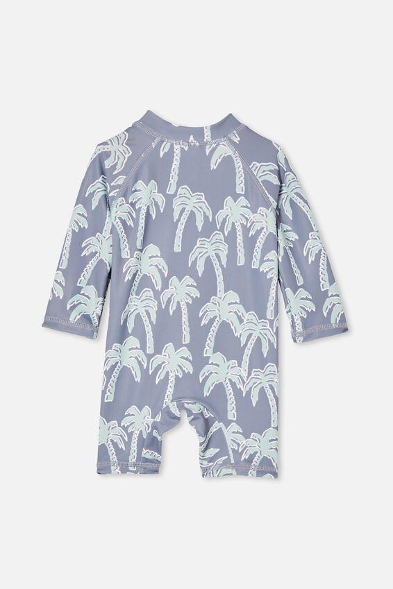 Cameron Long Sleeve Swimsuit, STEEL/WILD PALMS