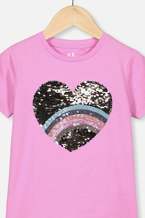Stevie Ss Embellished Tee, PURPLE PARADISE/RAINBOW HEART