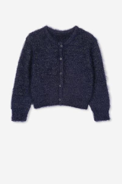 Liana Fluffy Cardigan, PEACOAT/GOLD