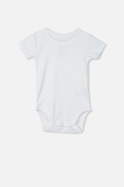 Newborn Short Sleeve Bubbysuit, PURE WHITE