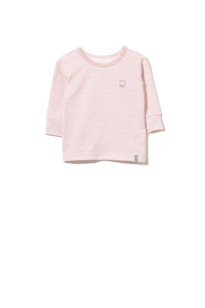 Mini Long Sleeve Tee, BABY PINK MARLE/VANILLA STRIPE