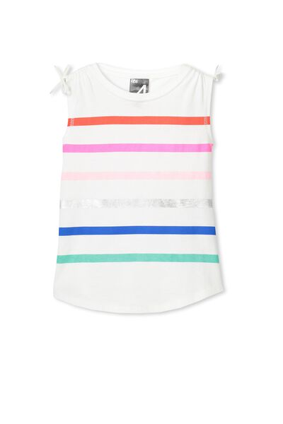 Active Bow Tank, VANILLA/MULTI STRIPE