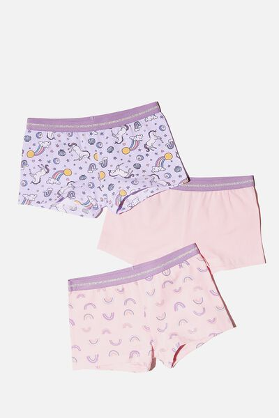 Girls 3Pk Shortie, UNICORN RAINBOW