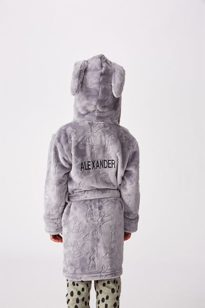 Personalised Boys Hooded Gown, GREY BUNNY