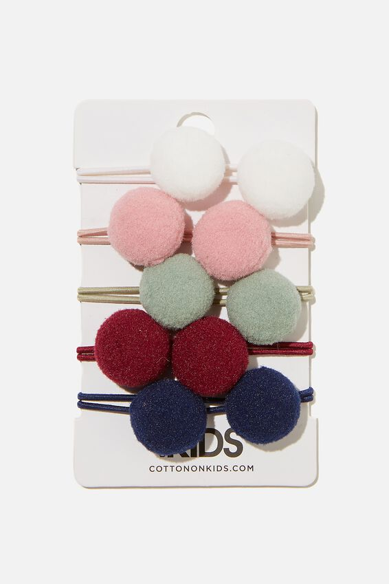 Knot Messy Hair Ties - Round, CLASSIC POM POMS
